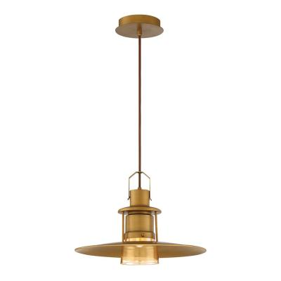 Lamport 13-Watt Standard LED Pendant Brushed Brass  with Clear Glass Shade
