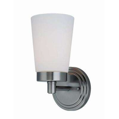 Designer Collection 1-Light Steel Gun Metal Sconce with Frost Glass Shade
