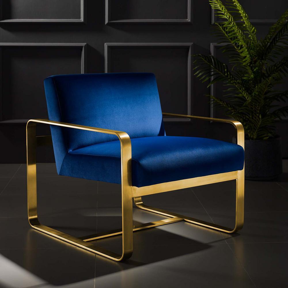 Astute Navy Upholstered Velvet Arm Chair
