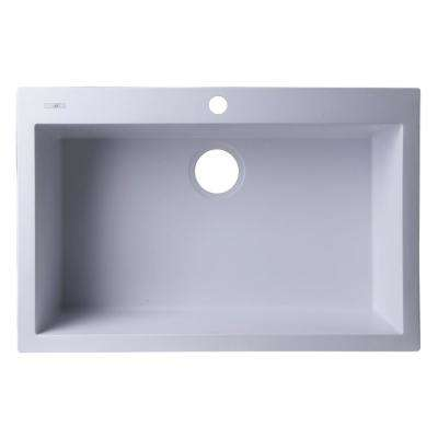 Drop-In Granite Composite 29.88 in. 1-Hole Single Bowl Kitchen Sink in White