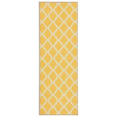 Glamour Collection Contemporary Moroccan Trellis Design Yellow 2 ft. x 6 ft. Kids Runner Rug
