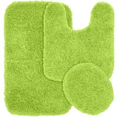 Jazz Lime Green 21 in. x 34 in. Washable Bathroom 3-Piece Rug Set
