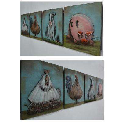 "12 in. x 49 in. ""On the Barnyard"" Metal Wall Art"