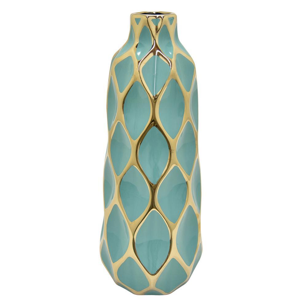 16 in. Porcelain TurquoiseandGold Vase
