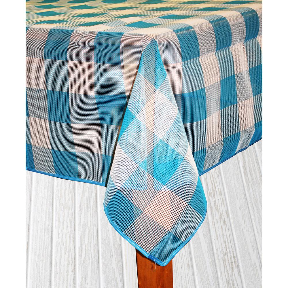 Bistro Check 70 in. Round Blue Vinyl and Poly Tablecloth