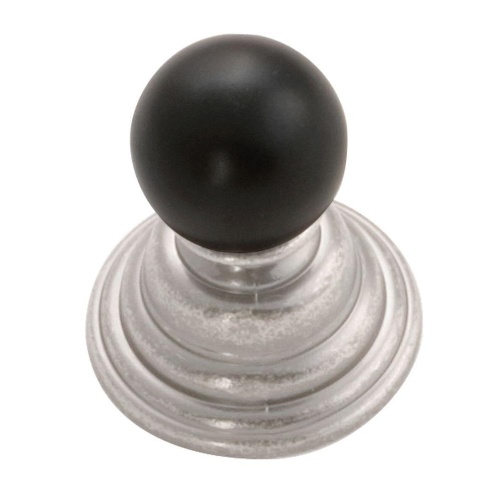 Gaslight 1.5 in. Black Nickel Vibed with Black Cabinet Knob