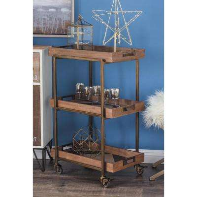 22 in. x35 in. Classic Brown 3-Tier Storage Cart
