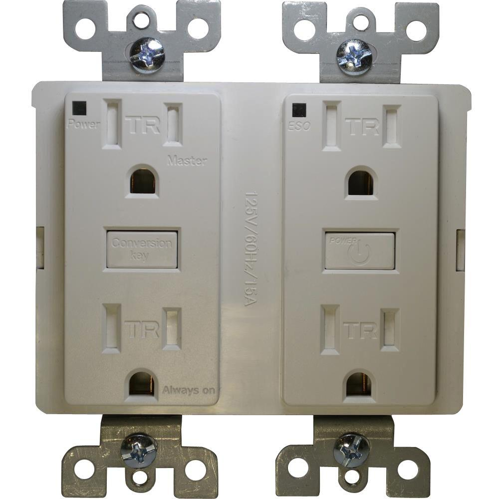 Eco Shark Energy Saving 15-Amp Duplex Outlet - White (2-Pack)