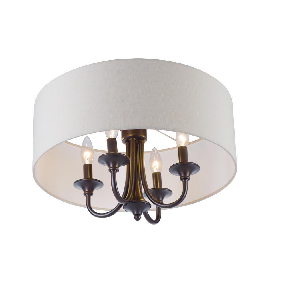 35fefc8ecb5 Maxim Lighting Glimmer 4-Light Bronze Flush Mount-39871BCBZ - The ...