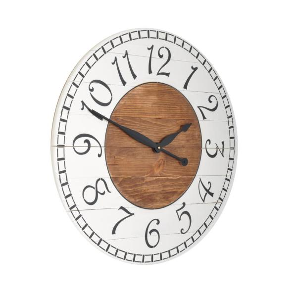 Brandtworks Oversized Antique White Farmhouse Wall Clock 30whbkbrtrx The Home Depot