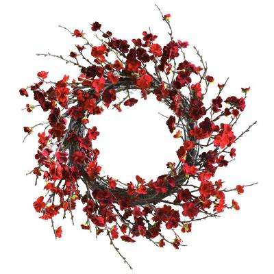 24 in. Plum Blossom Wreath