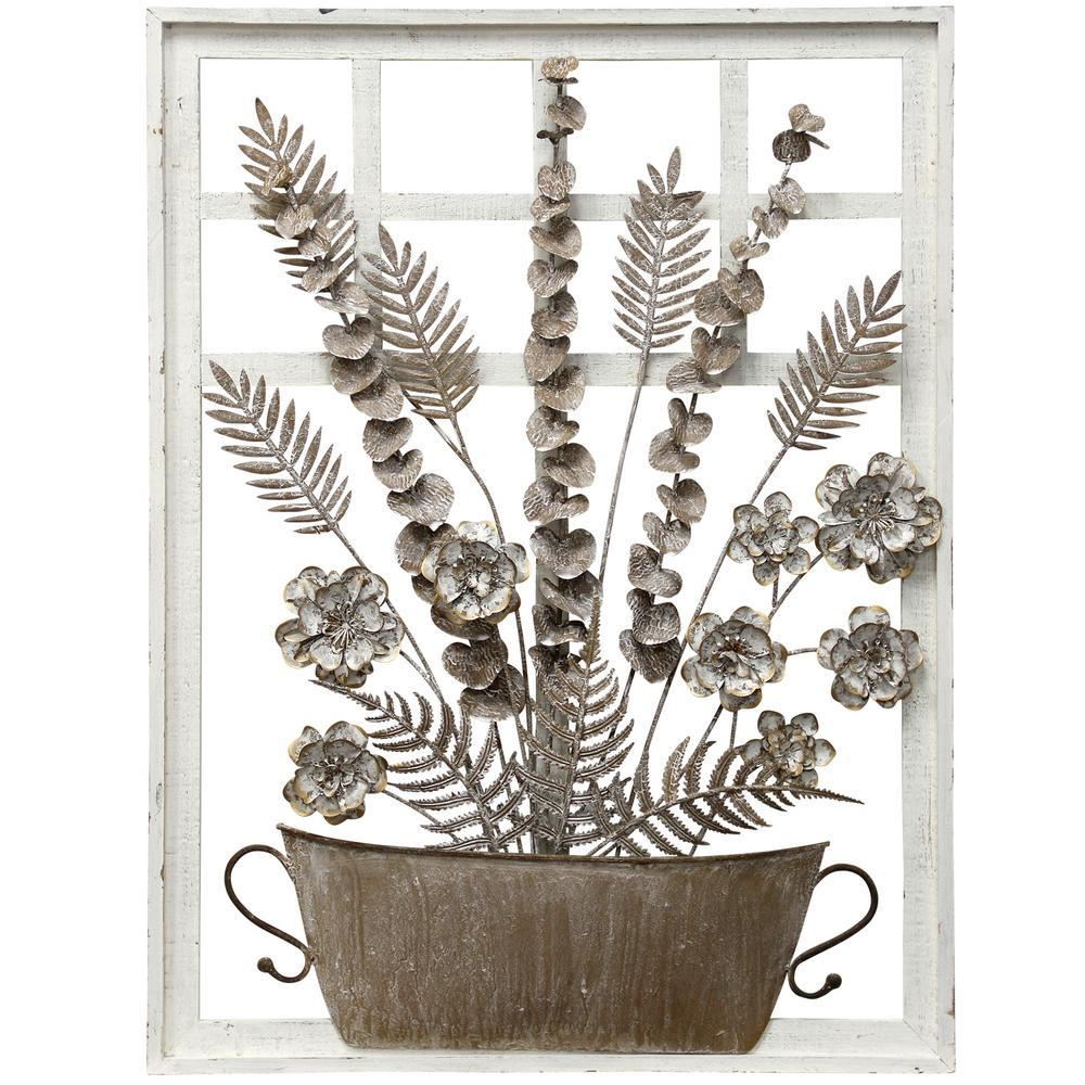 StyleCraft Farmhouse Antique Taupe, White Metal, Wood Wall Sculpture was $139.95 now $62.32 (55.0% off)