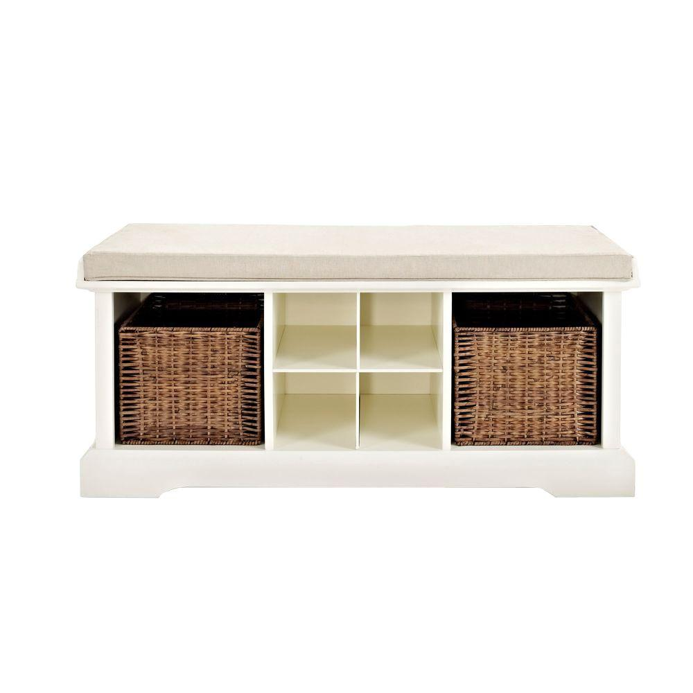Wondrous Crosley Brennan Entryway Storage Bench In White Cf6003 Wh Caraccident5 Cool Chair Designs And Ideas Caraccident5Info