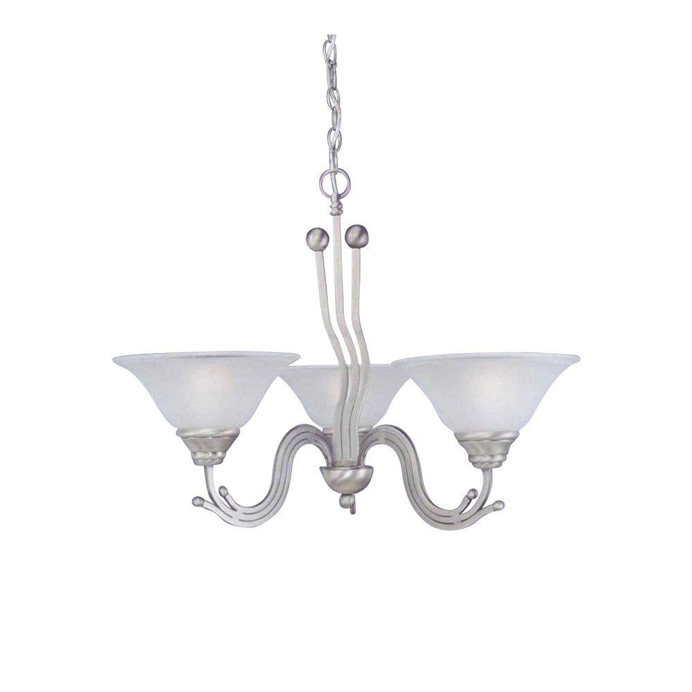 Concord Series 3-Light Brushed Nickel Chandelier with Dew Drop Glass Shade