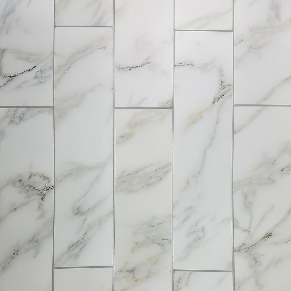 "Subway 4"" x 16"" Calacatta Gold Matte Stone Look Glass Peel & Stick Decorative Bathroom Wall Tile Backsplash (6 Pc/Pack)"