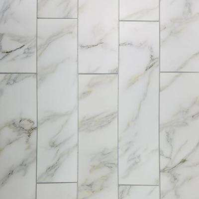 4 in. x 16 in. Nature Calacatta Gold Glass Peel and Stick Decorative Wall Tile Backsplash Sample