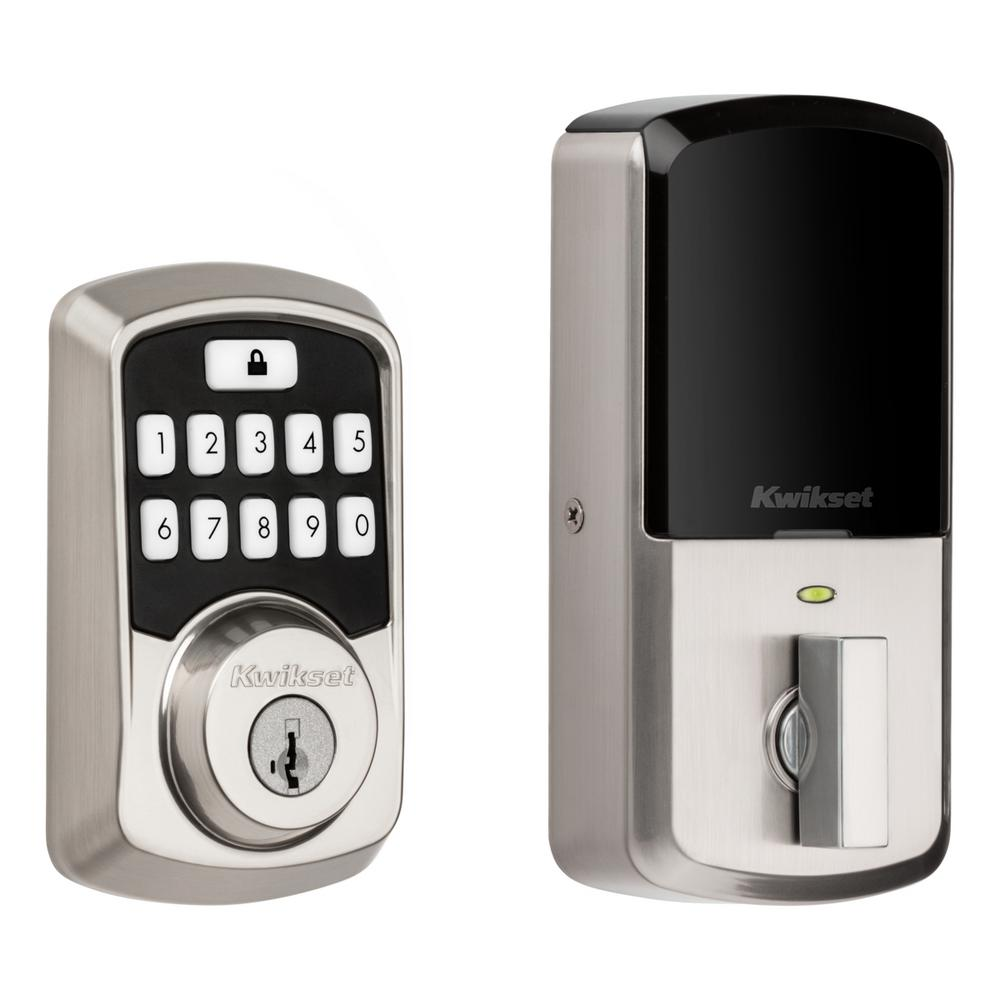 Kwikset Aura Satin Nickel Single Cylinder Electronic Bluetooth Keypad Smart Lock Deadbolt Featuring Smartkey Security 942bledb15smttp The Home Depot