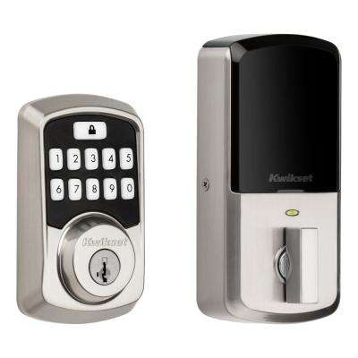 Aura Satin Nickel Single Cylinder Electronic Bluetooth Keypad Smart Lock Deadbolt featuring SmartKey Security