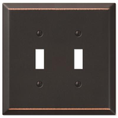 Oversized 2 Gang Toggle Steel Wall Plate - Aged Bronze