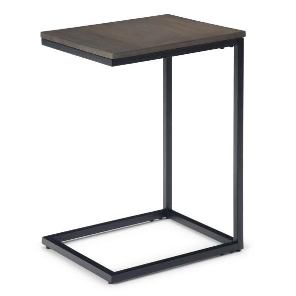Simpli Home Thorpe Solid Mango Wood And Metal 14 In Warm Grey Wide Square Industrial Contemporary C Side Table Axcthr C04 The Home Depot
