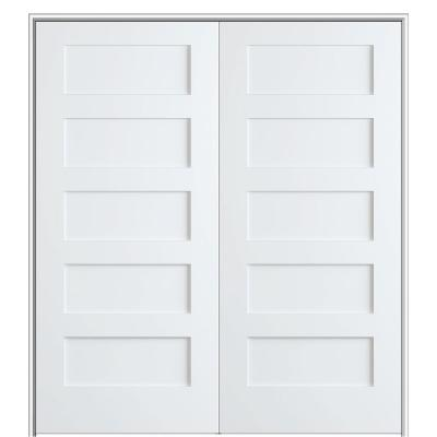 Shaker Flat Panel 48 in. x 80 in. Both Active Solid Core Primed HDF Double Pre-Hung French Door with 6-9/16 in. Jamb