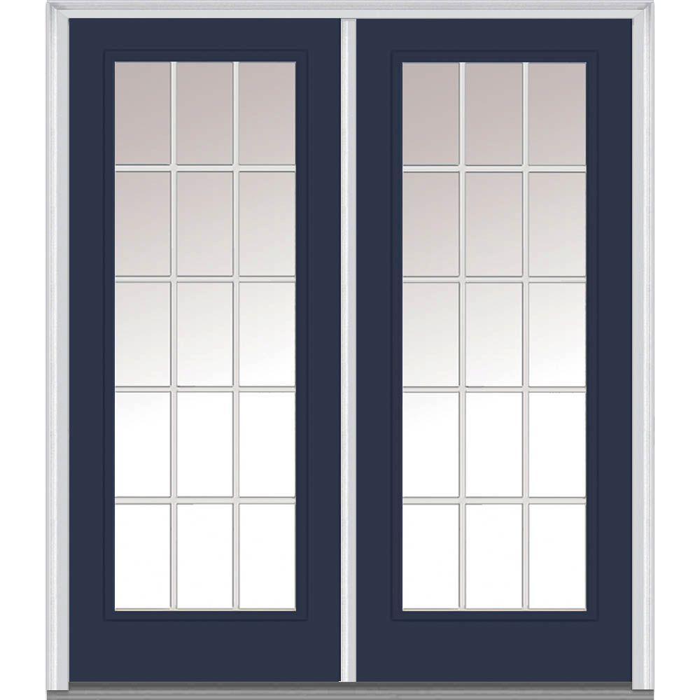 64 in. x 80 in. Grilles Between Glass Left-Hand Full Lite Classic Painted Steel Prehung Front Door