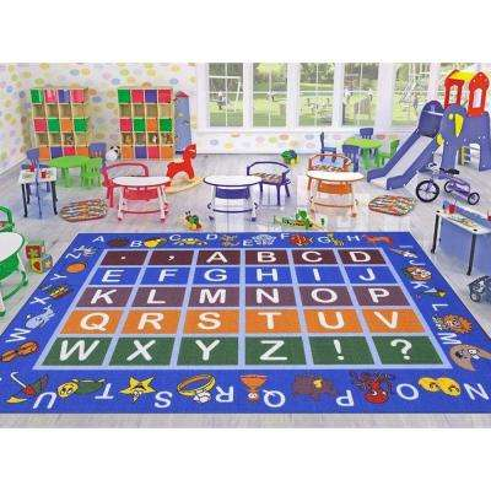 Jenny Collection Light Blue Alphabet Design 5 ft. x 6 ft. 6 in. Non-Slip Kids Area Rug