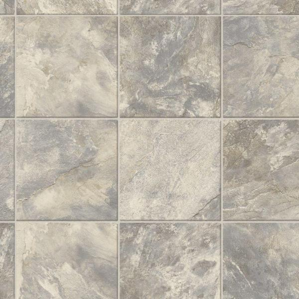 Neutral Square Slate Stone Residential Vinyl Sheet Flooring 12ft. Wide x Cut to Length