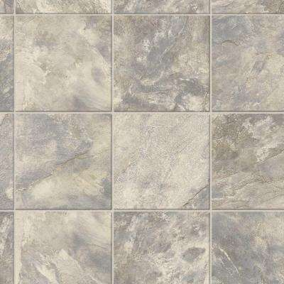 Neutral Square Slate 12 ft. Wide x Your Choice Length Vinyl Sheet