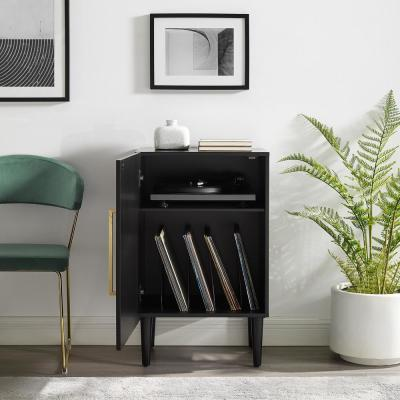 Everett Matte Black Record Player Stand