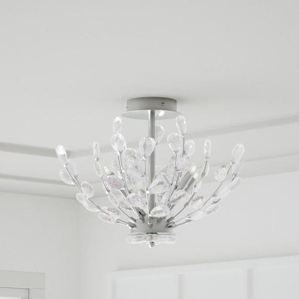 Home Decorators Collection Hetcherson 20 In 4 Light Chrome Semi Flush Mount With Crystal Glass Branches 29436 Hbu The Home Depot