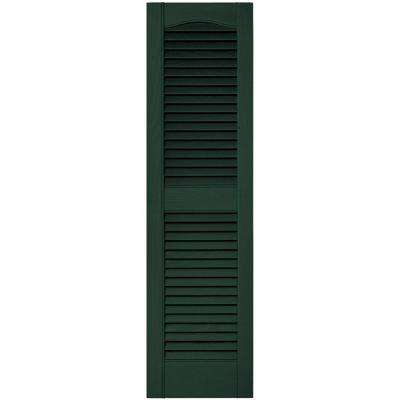 12 in. x 43 in. Louvered Vinyl Exterior Shutters Pair in #122 Midnight Green