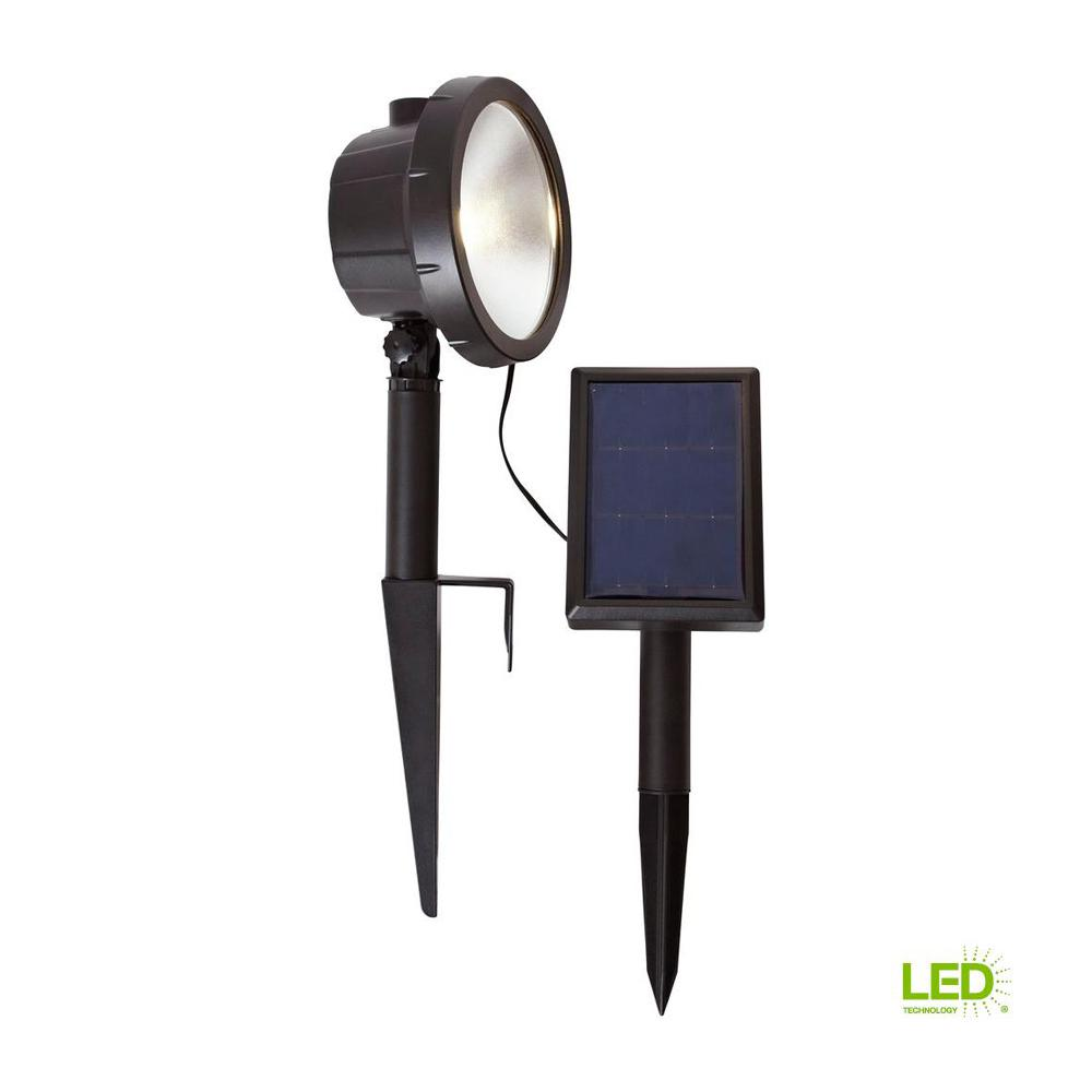 Solar Black Outdoor Integrated LED 3000K 75-Lumens Wall Wash Landscape Light
