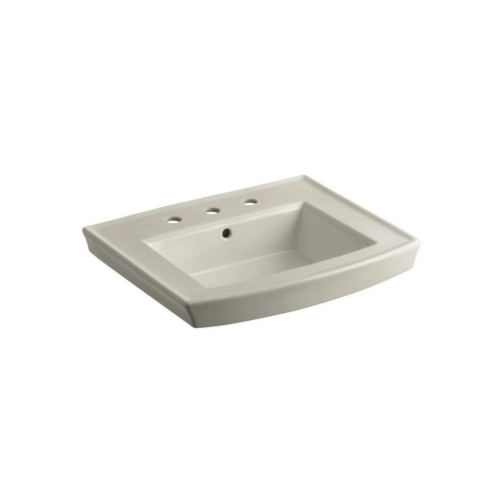 Archer 4 in. Vitreous China Pedestal Sink Basin in Sandbar with