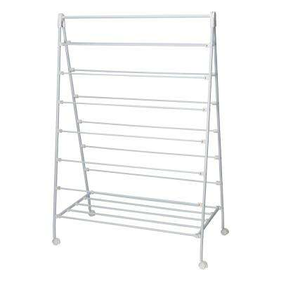 22 in. x 58 in. White Steel Portable Clothes Drying Rack with A-Frame Design