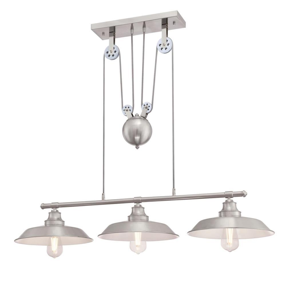 Westinghouse Westinghouse Iron Hill 3-Light Brushed Nickel Island Pulley Pendant