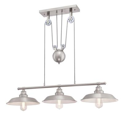 Iron Hill 3-Light Brushed Nickel Island Pulley Pendant
