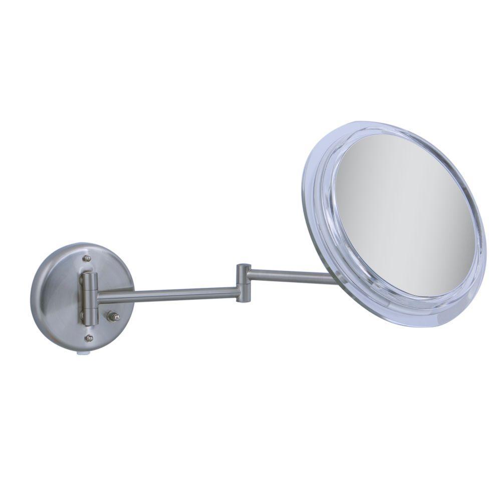 Surround Light 7X Wall Mirror in Satin Nickel