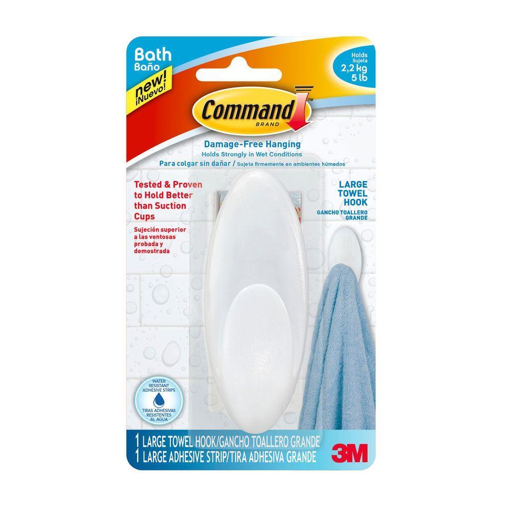 Command 5 Lb Large Towel Hook Bath17 Es The Home Depot