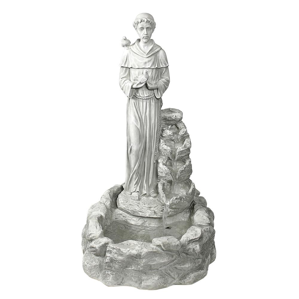 Design Toscano Nature's Blessed Prayer St. Francis Stone Bonded Resin Sculptural Fountain
