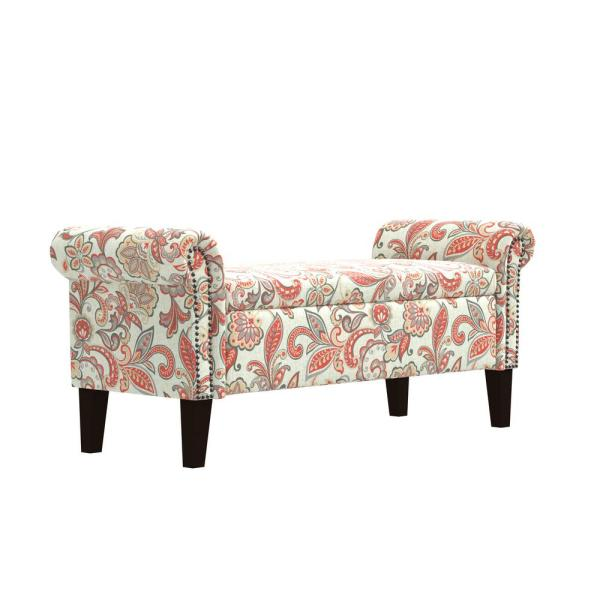 Handy Living Rose Red Multi Floral Garden Print Rolled Arm Bench