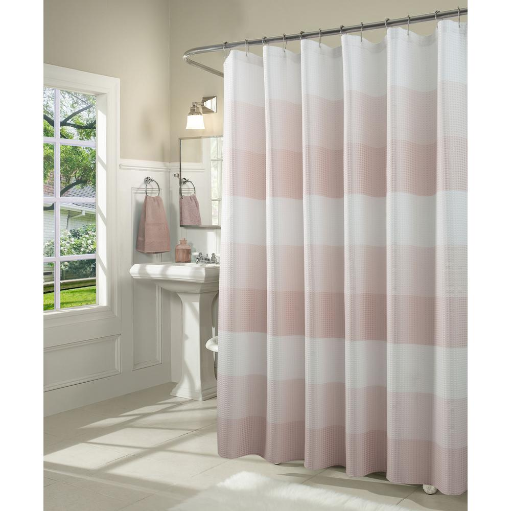 Dainty Home Ombre 72 in. Blush Waffle Weave Fabric Shower Curtain