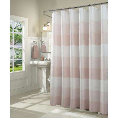 Ombre 72 in. Blush Waffle Weave Fabric Shower Curtain
