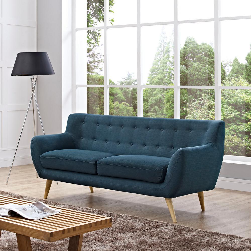 Remark Azure Upholstered Fabric Sofa