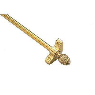 Plated Inspiration Collection Tubular 36 in. x 3/8 in. Polished Brass Finish Stair Rod Set with Pineapple Finials