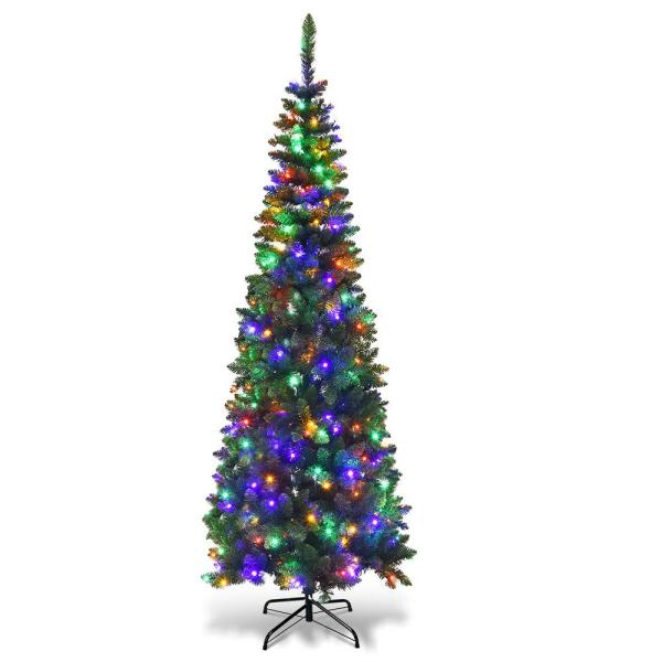 7.5 ft. Pre-Lit Hinged Pencil Artificial Christmas Tree with 350 Multi-Color LED Lights