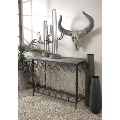 Grey Vintage Metal Saguaro Cactus Table Decor
