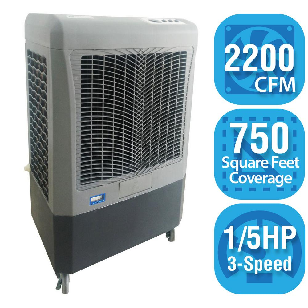 Hessaire 2,200 CFM 3 Speed Portable Evaporative Cooler For 750 Sq. Ft.