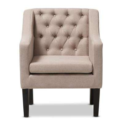 Brittany Contemporary Beige Fabric Upholstered Accent Chair