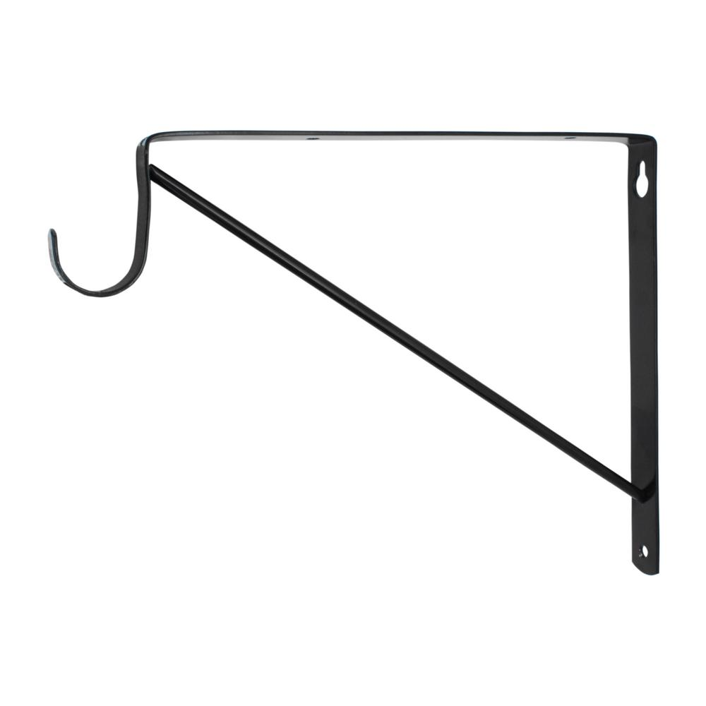 Everbilt Black Heavy Duty Shelf Bracket and Rod Support